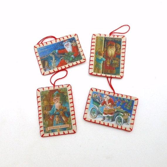 4 Mini Chirstmas Santa Vintage Postcard Image Ornaments