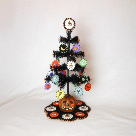 Halloween Feather Tree with Penny Ornaments, Tree Mat, and Tree Topper