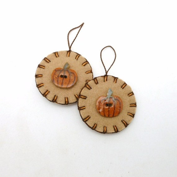 Hand Sewn Fall / Thanksgiving Ornaments with Pumpkin Porcelain Buttons- Set of 2