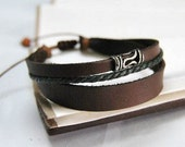 Simple With multilayer leather wood bead handmade BRACELET K19