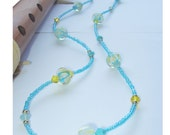 Cruising Altitude - Long Necklace Blues Yellow Lampwork Glass Swarovski