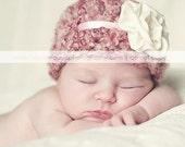 Newborn Silk Rosette crochet baby hat infant clothing.