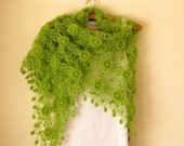 Green Flowered Triangle Mohair Shawl