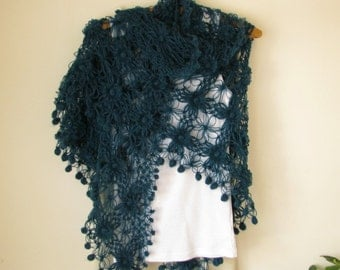 Teal Flowered Triangle Mohair Shawl