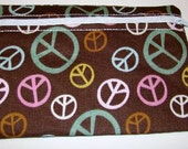 peace signs   tote/ cosmetic bag/ clutch  , Weekender Cosmetic Case / bag READY TO SHIP