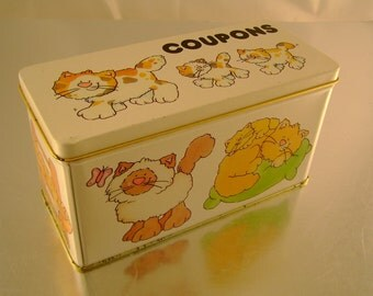 Funny Felines Kitty Cat Coupon Tin from 1980s