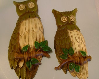 Vintage 1969 Metal Cast Iron Hand Painted Groovy Owls Wall Hangings for Your Retro Kitchen