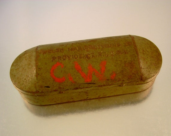 CW Was Here - Antique Driving Goggles Metal Tin Case