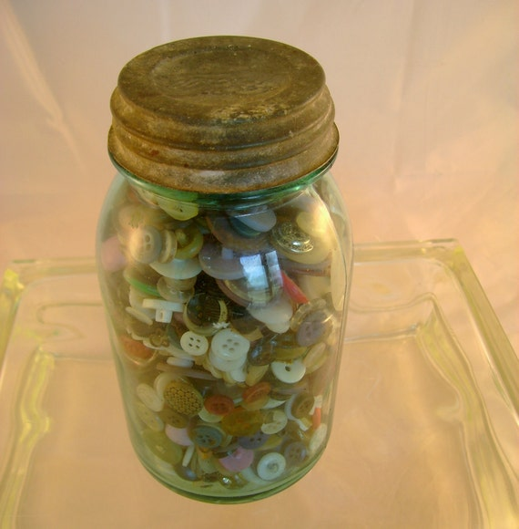 Vintage Old Shabby Chic Aqua Mason Jar Full of Vintage Buttons - aka a Jar O Buttons