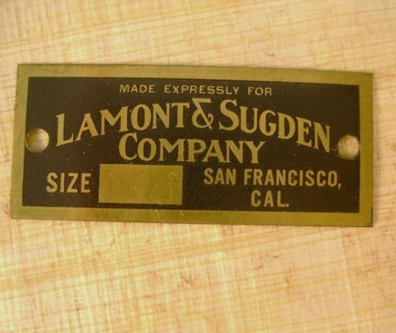 Vintage Brass Advertising Tag Lamont and Sugden Company, San Francisco, California