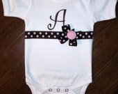 Custom Boutique Monogram Ribbon Onesie - Personalized - Baby - Child - Girl - Birthday - Gift - Pink Brown Polka Dot