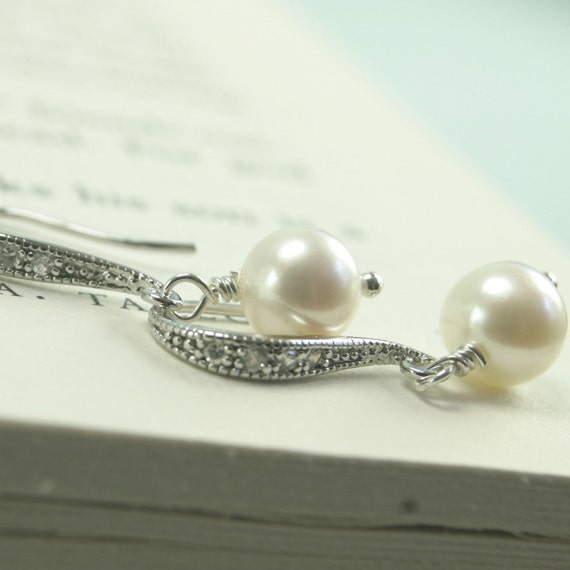 Classic CZ and Freshwater Pearl Earrings