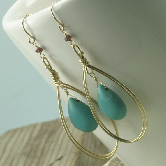 Golden Wire Wrapped and Turquoise Earrings
