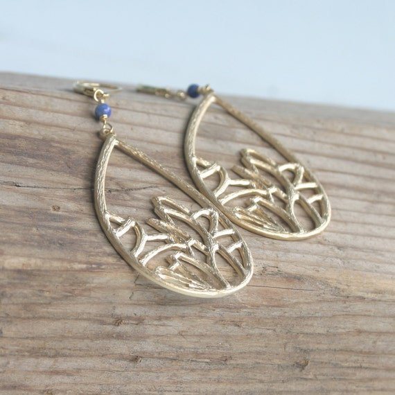 Blue Lapis and Gold Drop Earrings