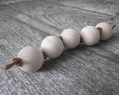 Teether, Montessori Grasping Beads, Wood and Leather