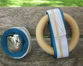 Montessori Baby Mobile: Gift Set for Baby in Blue (Bell on a Ribbon/ Ring on a Ribbon)