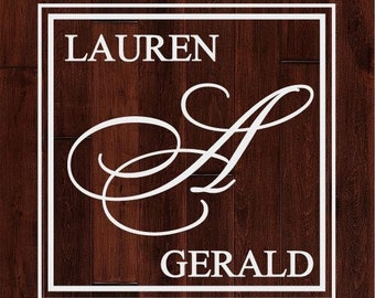Square Monogram Dance Floor or Wall Decal