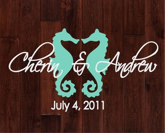 Personalized Seahorse Monogram Dance Floor Decal By