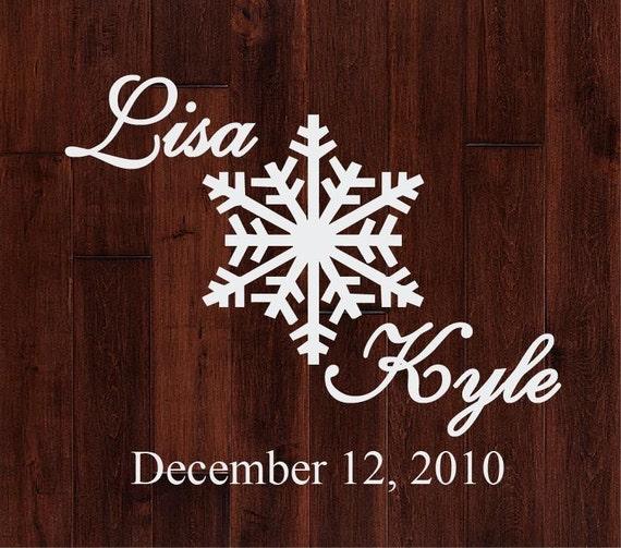 Personalized Winter Wonderland Snowflake Dance Floor or Wall Decal