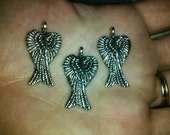 Angel Wing Pendants, Wings, Biker Theme, Motorcycle, Heavenly, Christmas, Religious, Silver Pewter, 5 Pieces, Dollar Charm Sale