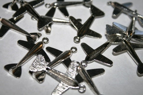 Airplane Charms, Transportation Theme, Airlines, Silver Pewter, 50 Pieces