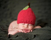 Pumpkin or apple hat for baby - hand knit - all sizes - photo shoot prop - autumn fall baby - baby shower gift - baby boy girl