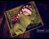 red and white striped long style pixie hat for baby - hand knit - newborn photo shoot prop - xmas  - other colours - baby boy girl