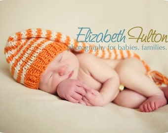 Orange and Cream long style Pixie hat for baby - hand knit - newborn photo shoot prop - many colours - baby boy girl