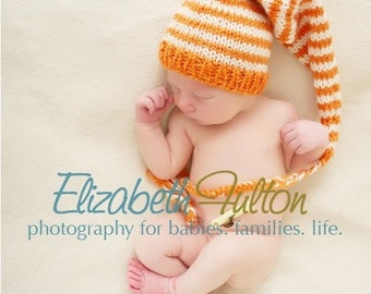 Orange and Cream long style Pixie hat for baby - hand knit - newborn photo shoot prop - many colours