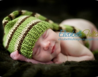 Green, Brown and beige Pixie hat for baby - hand knit - newborn photo shoot prop - many colours - baby boy girl