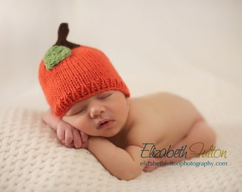 Pumpkin or apple hat for baby - hand knit - all sizes - photo shoot prop