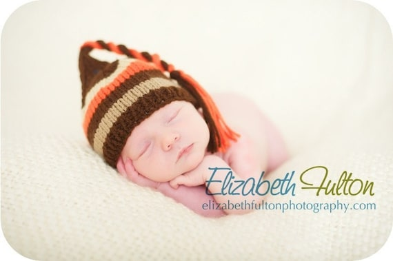 Petite pixie hat for baby - hand knit - brown, beige, orange stripes - photo shoot prop - newborn and other sizes