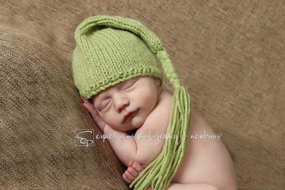 Short style pixie hat for baby - hand knit - kiwi green - photo shoot prop - newborn and other sizes - other colours - baby boy girl