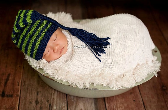 Navy and apple green short Pixie hat for baby - hand knit - newborn photo shoot prop - many colours - boy girl hat