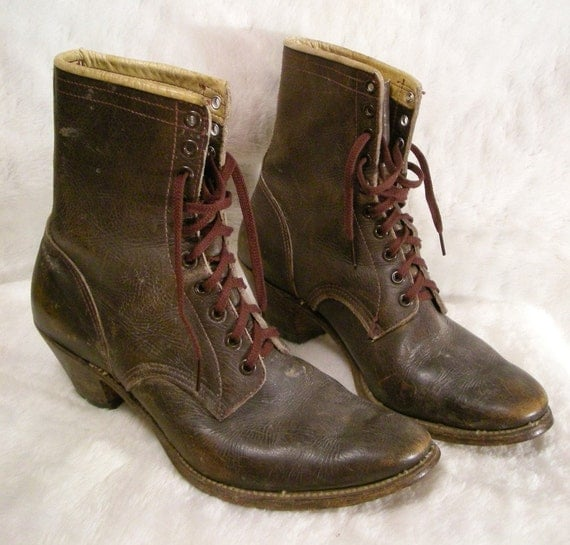 50s Mens Lacer Cowboy Boots Wood Stacked Heel By
