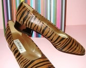 CHIC FIERCE WILD LEATHER VTG 80s SLIP ON TIGER LOAFERS