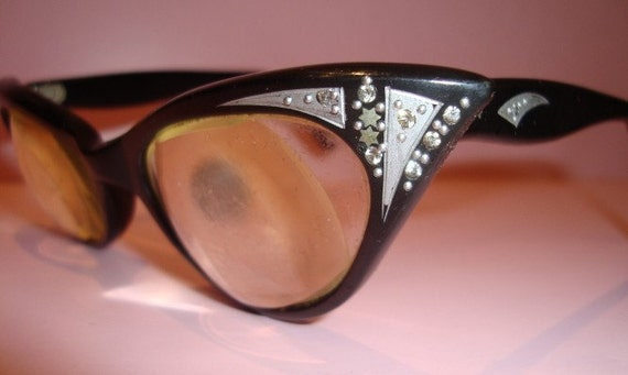 SALE.....ROCKABILLY  Black CAT EYES  VTG 50s\/60s  Aurora Borealis RHINESTONE chic KITTY SPECTACLES Glasses FRANCE
