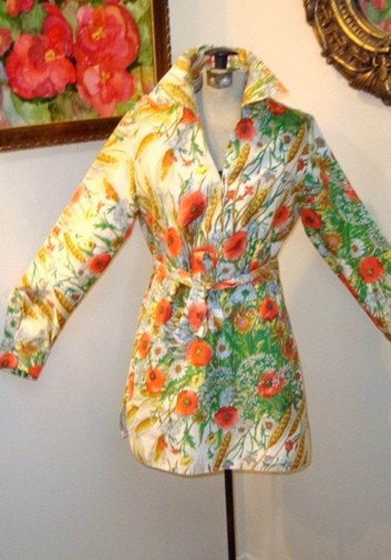 MOD POPPIES garden  VTG  70s  TWIGGY belted TUNIC BLOUSE Mini DRESS