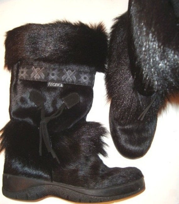 FURRY APRES SKI VTG 80s TECHNICA Black FUR SNOW BOOTS