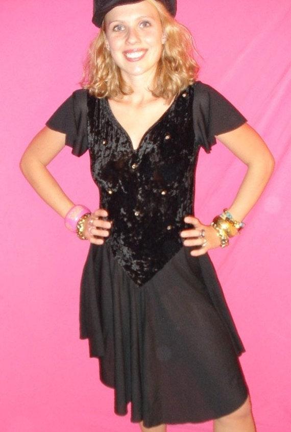 GLITZY BALLERINA BODYSUIT VTG 80s RHINESTONES BLACK VELVET DRESS