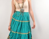 Bohemian Cotton Skirt Muslin Tiered w Rick Rack Teal Ethnic Mexican Maxi Fiesta 1960s Salud S M