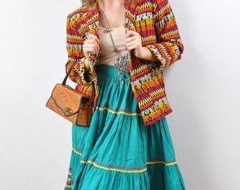 Vintage 1950s Southwest Etnic IKAT Blazer Jacket Loomed Woven Aztec Oaxaca Coat Xs S