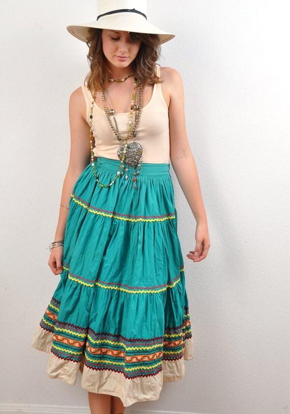 Bohemian Cotton Skirt Muslin Tiered w Rick Rack Teal Ethnic Mexican Maxi Fiesta 1960s Salud S M