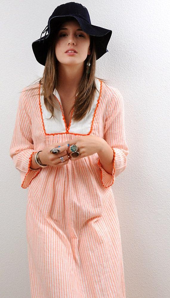 Uber 70s Pastel sweet VINTAGE Boho Cotton Gauze Madras Striped Bib Maxi Dress S