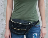 Vintage, leather, fanny pack, studs, black, studded, gold, upcycled, pyramid,