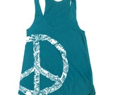 Womens Lace PEACE Sign american apparel Tri-Blend Racerback Tank Top S M L (9 Color Options)