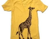 Unisex GIRAFFE (in High Tops) Deep V-Neck american apparel  XS S M L (10 Color Options)