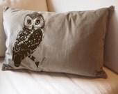 Urban OWL Large Eco Throw Pillow Sham Cover - 16x24 Tan Cotton Velvet