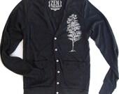 Unisex Pine Tree Tri-Blend Black Cardigan - American apparel XS S M L