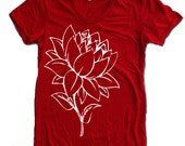 Womens LOTUS FLOWER t-shirt american apparel  S M L XL (17 Colors Available)